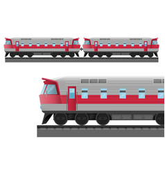 modern train with solid metal corpus drives on vector image vector image