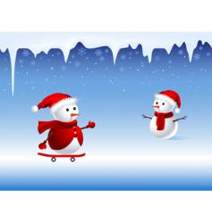 skiing snowman vector image vector image