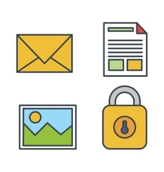 collection icons secutiry data design isolated vector image
