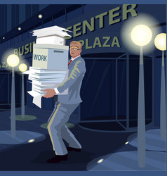 man carry documents from office to home at night vector image vector image