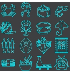 Seafood line icons collection vector image vector image