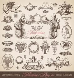 antique valentines set vector image vector image
