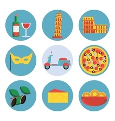 Italy flat icons set vector image vector image