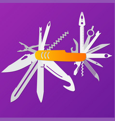 multifunction flat knife swiss knife vector image