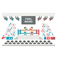 Flat design boxing stage fight vector image vector image