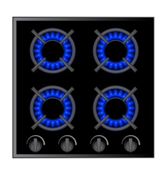Gas stove burner over dark vector image