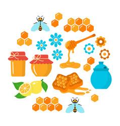 honey flat icons set vector image