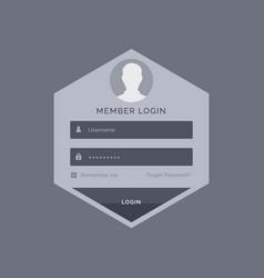 member login form ui template design in hexagonal vector image vector image
