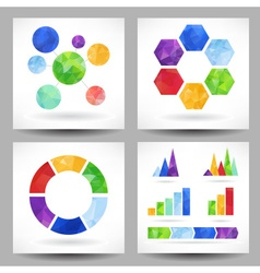 Set of charts with abstract triangles vector image