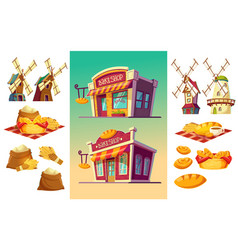 Set of icons for a bakery two bake shop freshly vector