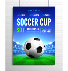 soccer cup poster vector image vector image