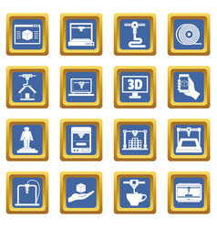 3d printing icons set blue vector