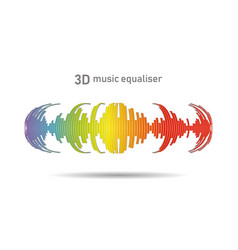 3d rainbow music wave logo on white vector image