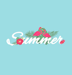 abstract tropical summer background with flamingo vector image