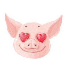 adorable pig character in love cute little piglet vector image
