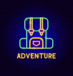 adventure neon label vector image