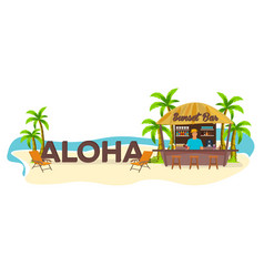 Aloha travel palm drink summer lounge chair vector