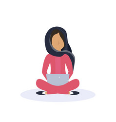 arab woman sitting pose isolated using tablet vector image