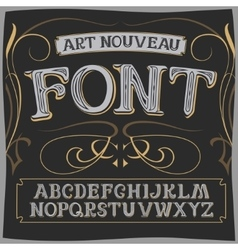 Art nouveau label font on a dark backround vector
