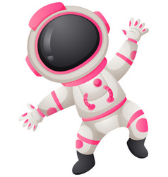 Astronaunt in white and pink spacesuit vector