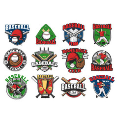 baseball sport game icons vector image