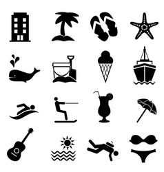 beach and summer resort icons vector image