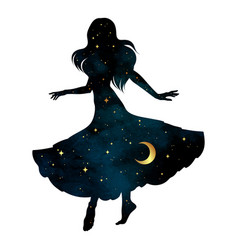 beautiful dancing gypsy silhouette with crescent vector image