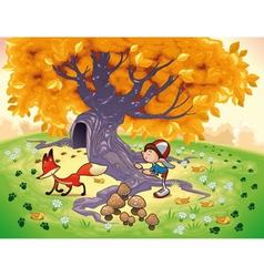 Boy and fox in wood vector