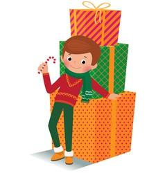 Boy with christmas gift vector image