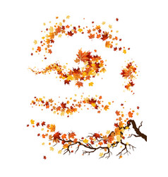 branch and leaves decor vector image