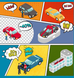 Cars sale comic book page vector