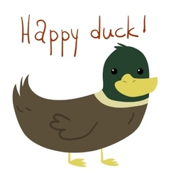 Cartoon flat Happy Duck postcard vector