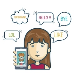 Cartoon smartphone woman mobile chat graphic vector