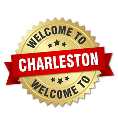 Charleston 3d gold badge with red ribbon vector