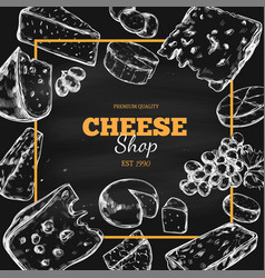 cheese collection hand drawn vector image
