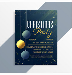 christmas party flyer invitation template with vector image