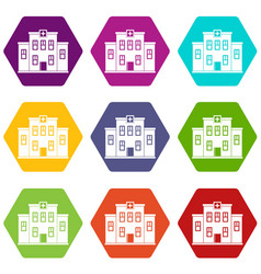 city hospital building icon set color hexahedron vector image