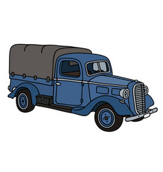 Classic blue small truck vector