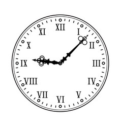 Clock face with roman numerals black flat drawing vector