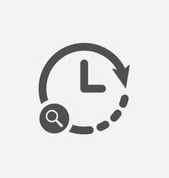Clock icon with research sign vector