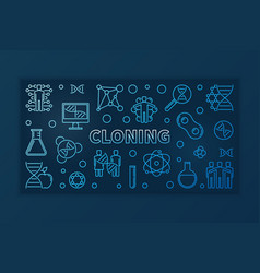 Cloning blue thin line banner - linear vector