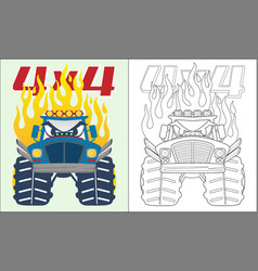 Coloring book or page monster truck cartoon vector