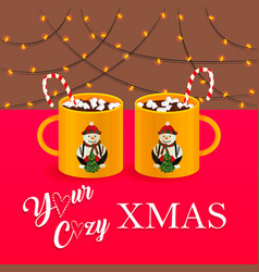 cozy christmas with cacao vector image