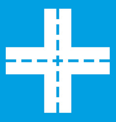 Crossing road icon white vector