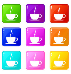 Cup of hot drink icons 9 set vector