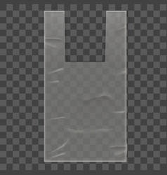 Disposable plastic bag package on transparent vector