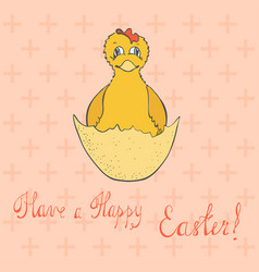easter card with just hatched chicken vector image