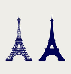 Eiffel tower silhouette and sketched icons vector