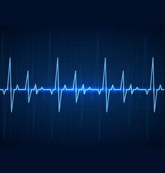 ekg blue sinusoidal pulse lines monitor vector image