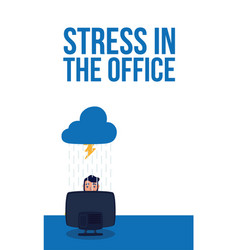 Elegant business man stressed working in desktop vector